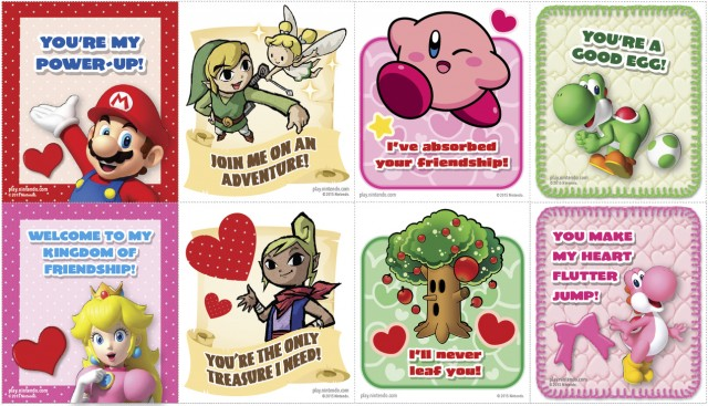 Print out Mario Zelda Kirby and Yoshi Valentines Day cards – Mario Valentines Cards
